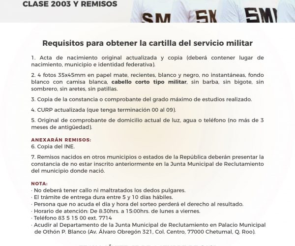 REQUISITOS PARA OBTENER LA CARTILLA DEL SERVICIO MILITAR